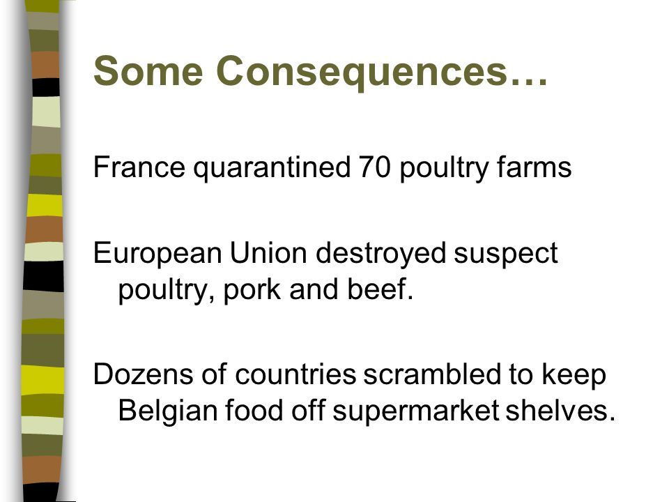 Some Consequences… France quarantined 70 poultry farms European Union destroyed suspect poultry, pork and beef. Dozens of countries scrambled to keep