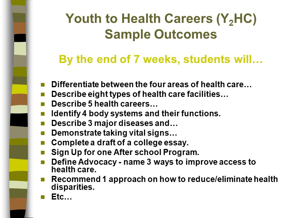 Youth to Health Careers (Y 2 HC) Sample Outcomes By the end of 7 weeks, students will… Differentiate between the four areas of health care… Describe e
