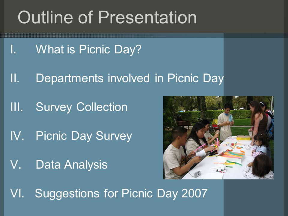 Outline of Presentation I.What is Picnic Day.