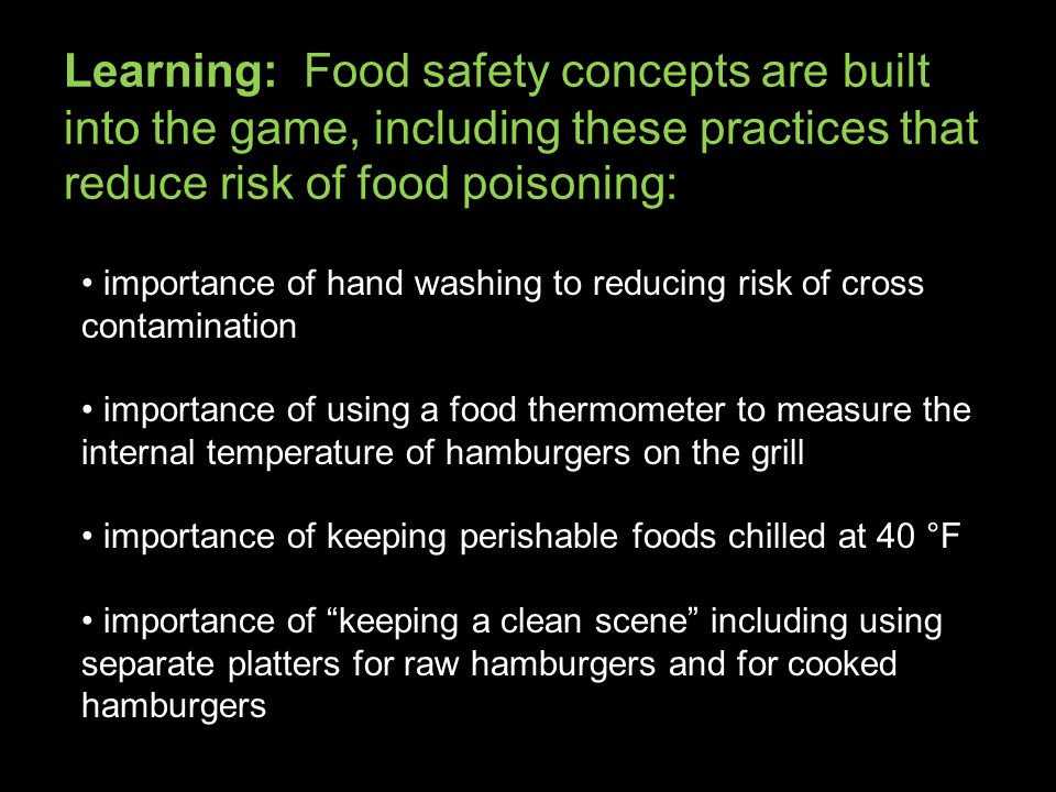 Learning: Food safety concepts are built into the game, including these practices that reduce risk of food poisoning: importance of hand washing to reducing risk of cross contamination importance of using a food thermometer to measure the internal temperature of hamburgers on the grill importance of keeping perishable foods chilled at 40 °F importance of keeping a clean scene including using separate platters for raw hamburgers and for cooked hamburgers
