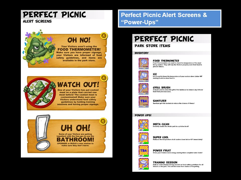 "Perfect Picnic Alert Screens & ""Power-Ups"""