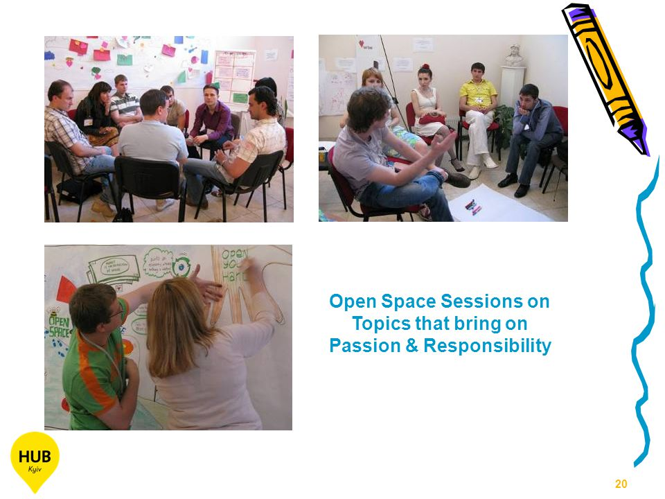 20 Open Space Sessions on Topics that bring on Passion & Responsibility