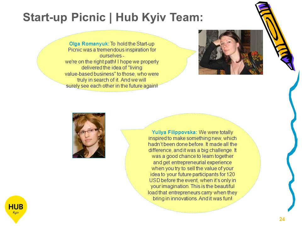 24 Olga Romanyuk: To hold the Start-up Picnic was a tremendous inspiration for ourselves - we re on the right path.
