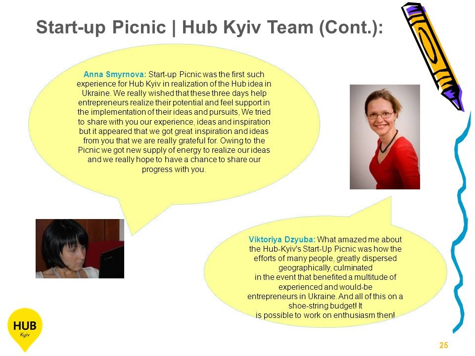 25 Anna Smyrnova: Start-up Picnic was the first such experience for Hub Kyiv in realization of the Hub idea in Ukraine.