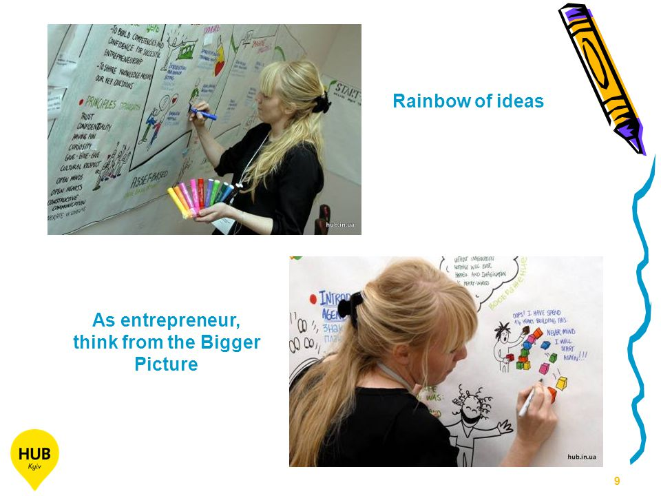 9 Rainbow of ideas As entrepreneur, think from the Bigger Picture