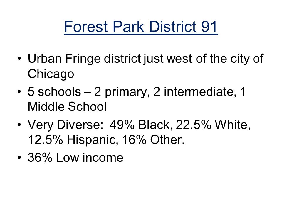 Forest Park District 91 Urban Fringe district just west of the city of Chicago 5 schools – 2 primary, 2 intermediate, 1 Middle School Very Diverse: 49% Black, 22.5% White, 12.5% Hispanic, 16% Other.