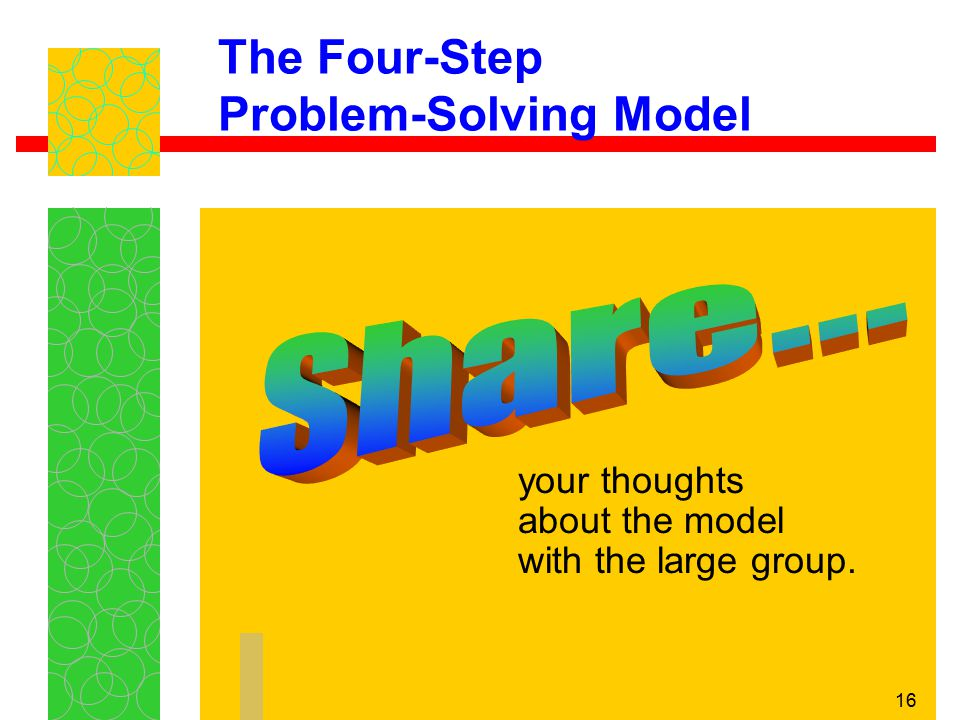 16 The Four-Step Problem-Solving Model your thoughts about the model with the large group.