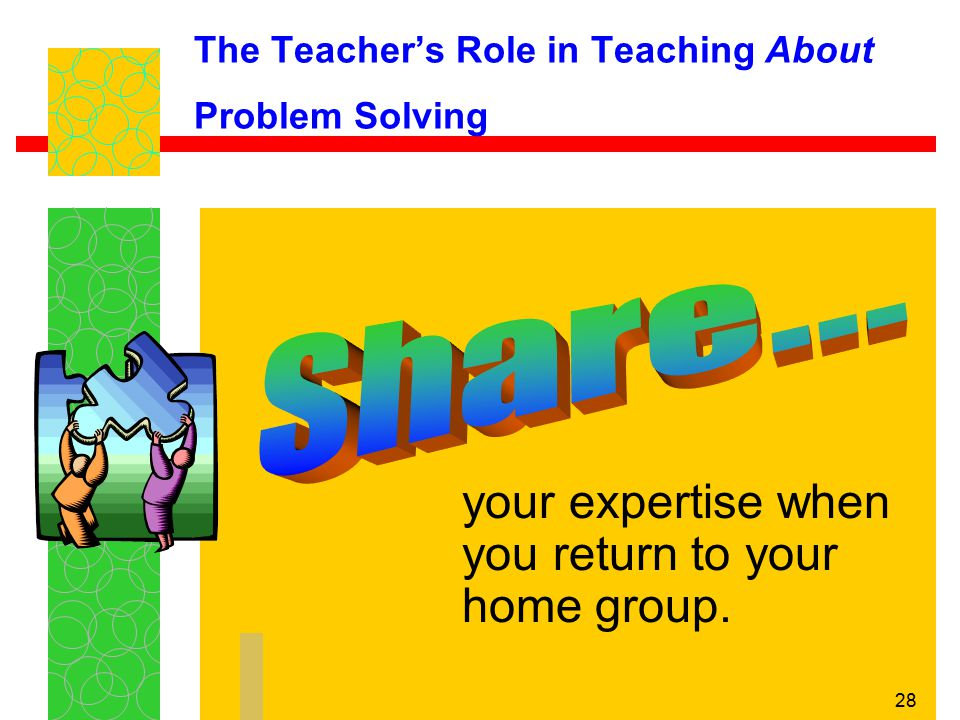 28 The Teacher's Role in Teaching About Problem Solving your expertise when you return to your home group.