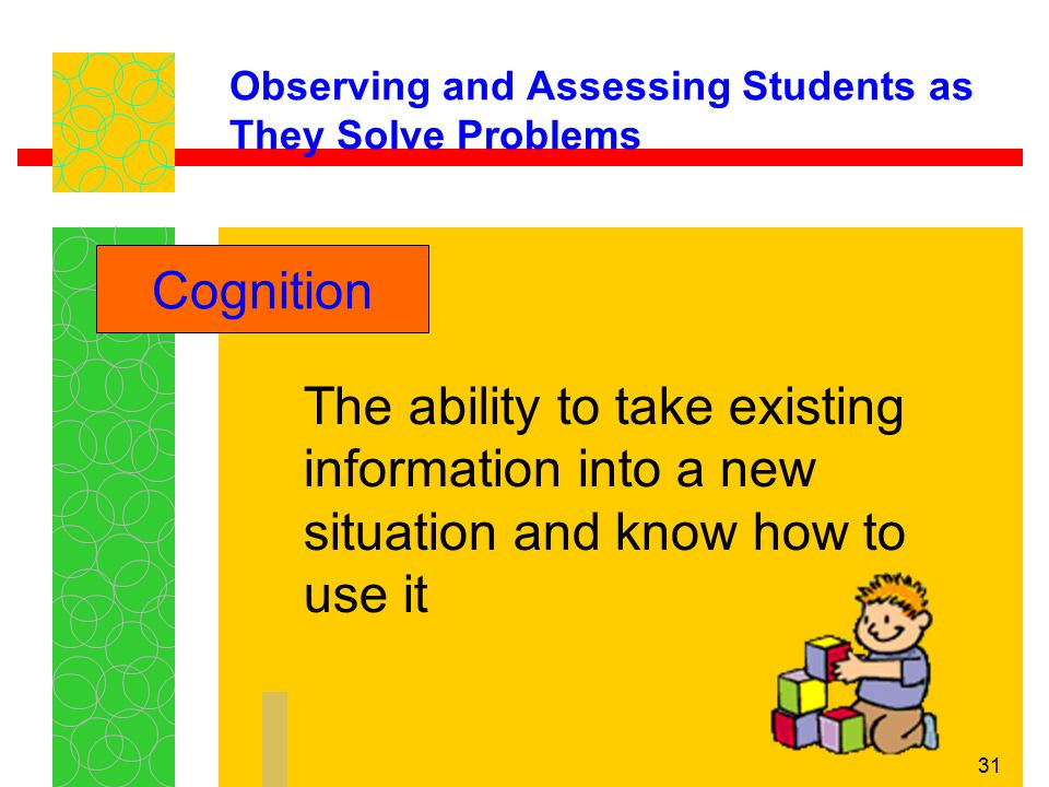 31 Observing and Assessing Students as They Solve Problems The ability to take existing information into a new situation and know how to use it Cognit