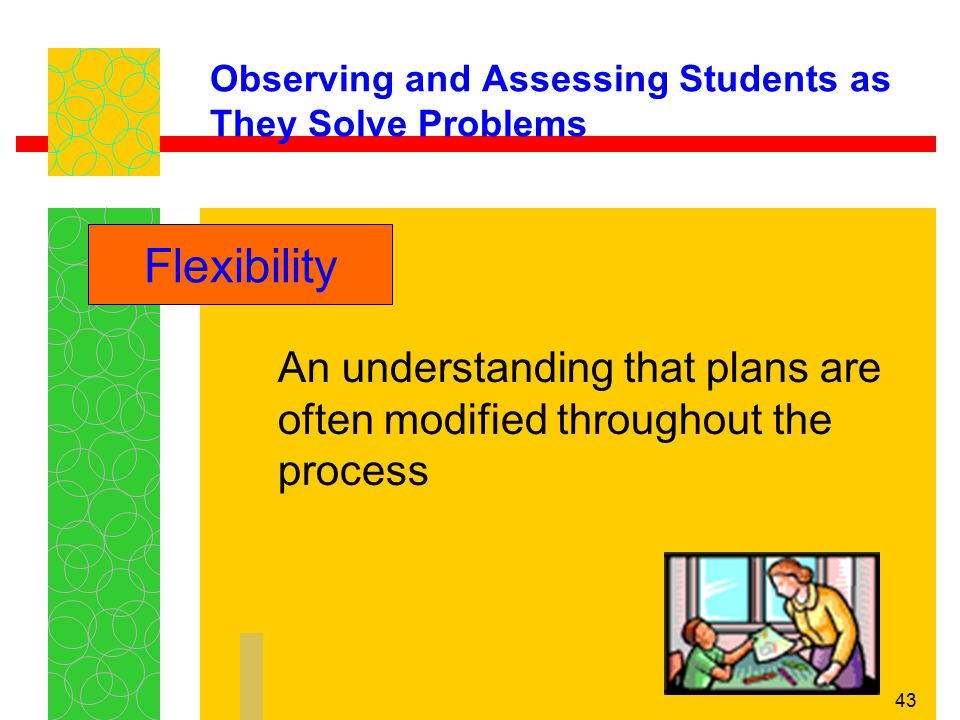 43 Observing and Assessing Students as They Solve Problems An understanding that plans are often modified throughout the process Flexibility