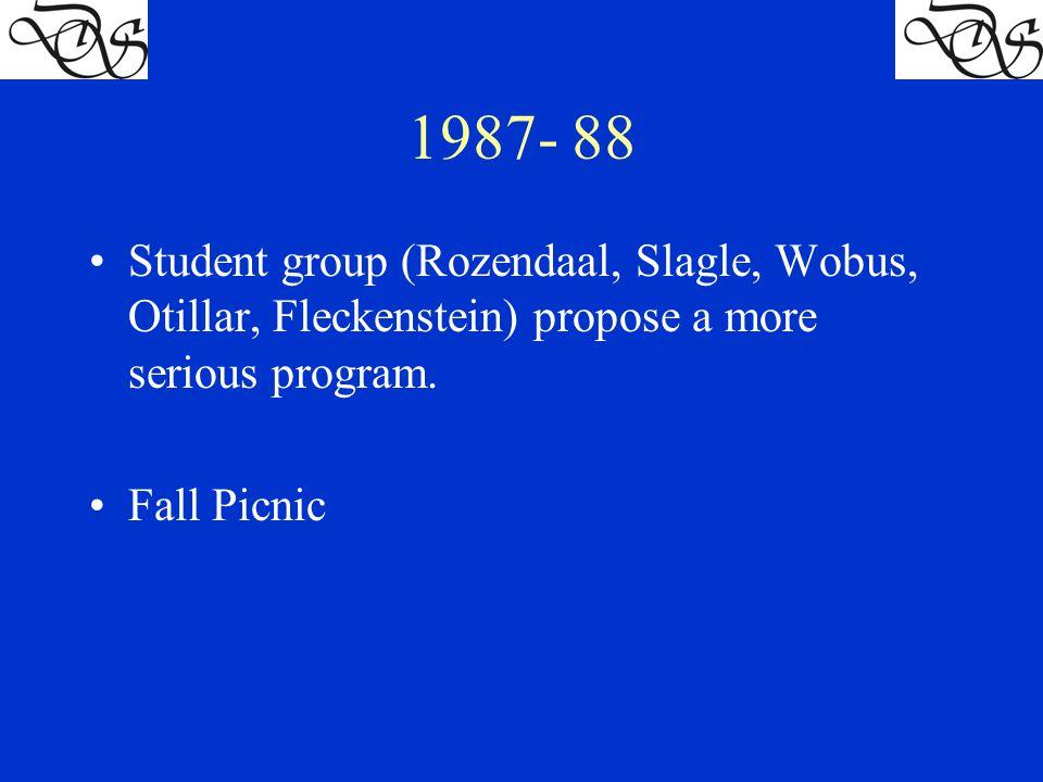 1987- 88 Student group (Rozendaal, Slagle, Wobus, Otillar, Fleckenstein) propose a more serious program.