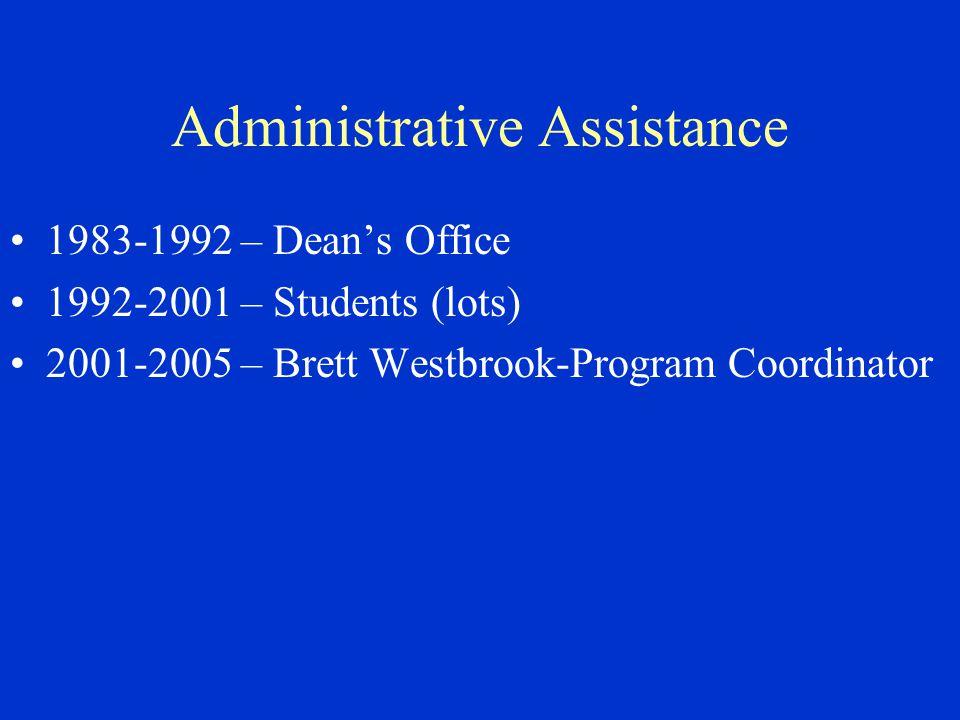 Administrative Assistance 1983-1992 – Dean's Office 1992-2001 – Students (lots) 2001-2005 – Brett Westbrook-Program Coordinator