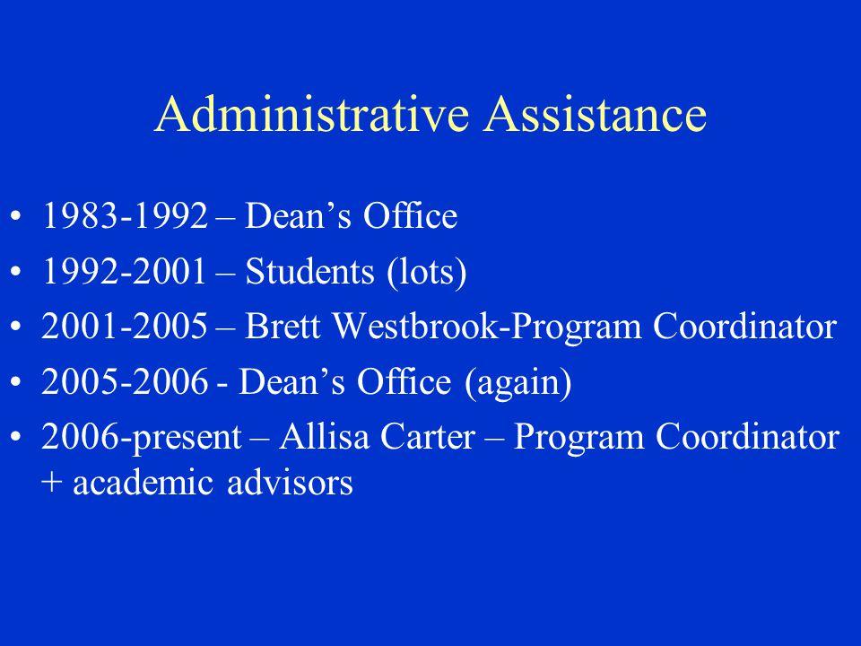 Administrative Assistance 1983-1992 – Dean's Office 1992-2001 – Students (lots) 2001-2005 – Brett Westbrook-Program Coordinator 2005-2006 - Dean's Office (again) 2006-present – Allisa Carter – Program Coordinator + academic advisors
