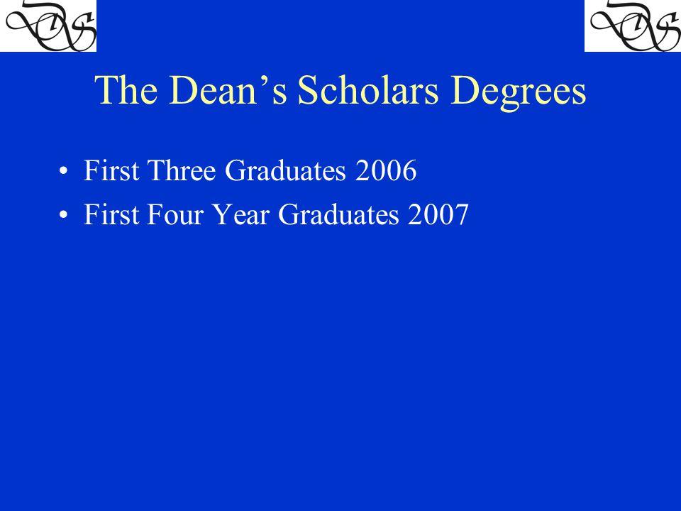 The Dean's Scholars Degrees First Three Graduates 2006 First Four Year Graduates 2007