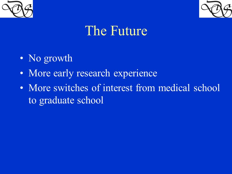 The Future No growth More early research experience More switches of interest from medical school to graduate school