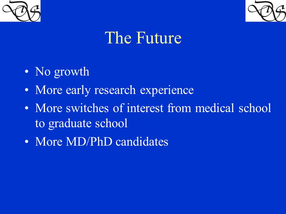 The Future No growth More early research experience More switches of interest from medical school to graduate school More MD/PhD candidates