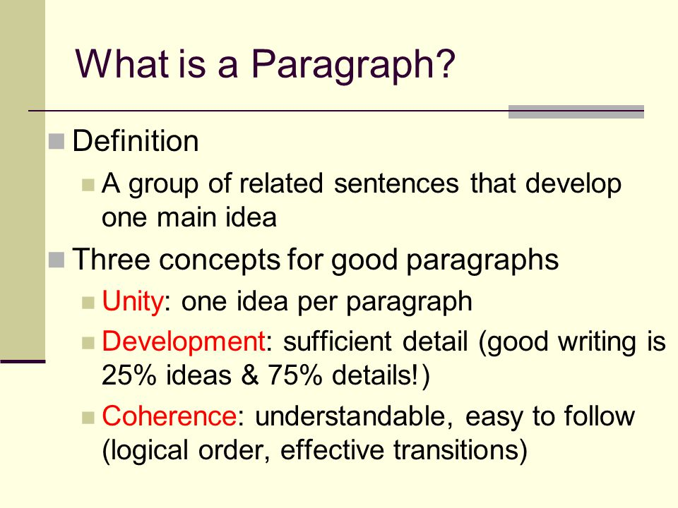Anatomy of a Paragraph Topic Sentence Usually first—want to use the norm for the paragraph assignments Contains TWO PARTS Topic Controlling Idea Body The details which make your topic sentence vivid to the reader, that prove your point