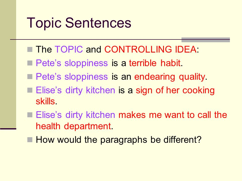 Steps in Writing a Good Paragraph Follow this order for sure success: Narrow the topic Draft the topic sentence Generate DETAILS for the body Select and drop details Arrange in a plan or outline Time to draft…..