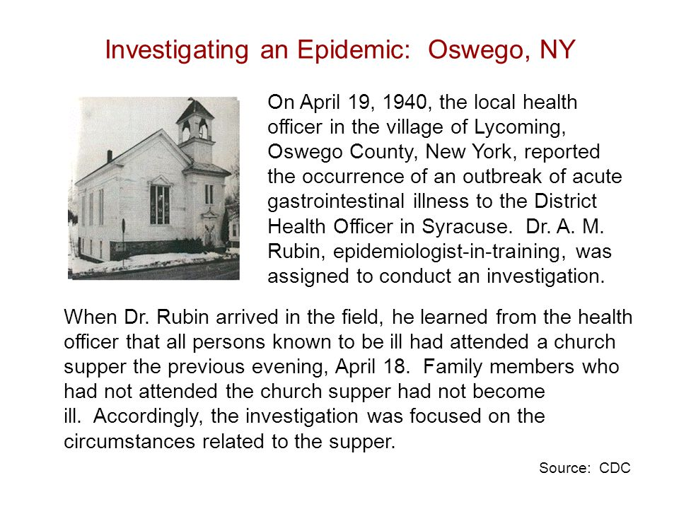 On April 19, 1940, the local health officer in the village of Lycoming, Oswego County, New York, reported the occurrence of an outbreak of acute gastrointestinal illness to the District Health Officer in Syracuse.
