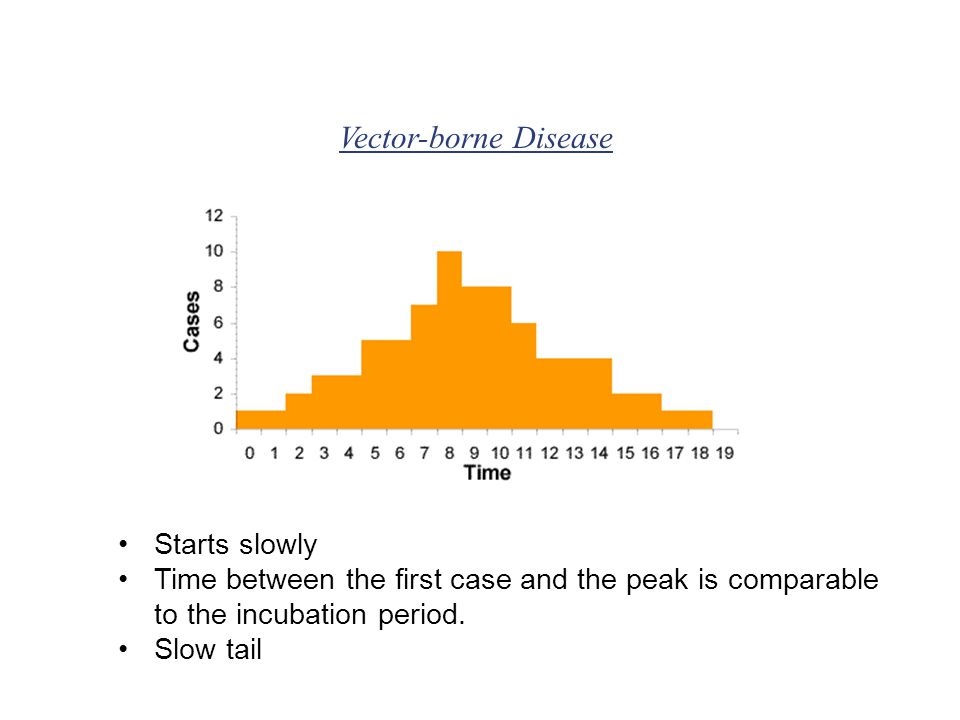 Starts slowly Time between the first case and the peak is comparable to the incubation period.