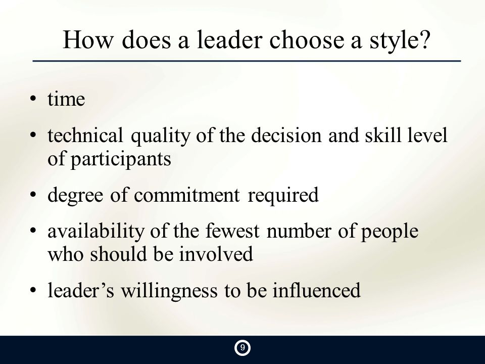 How does a leader choose a style.