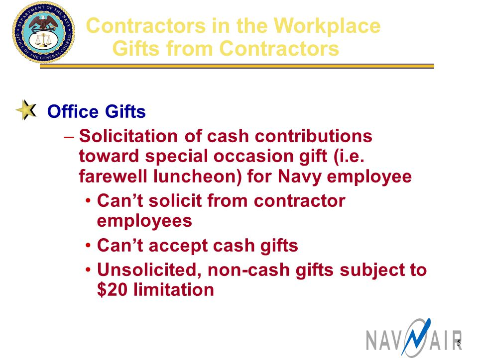 5 Office Gifts –Solicitation of cash contributions toward special occasion gift (i.e.