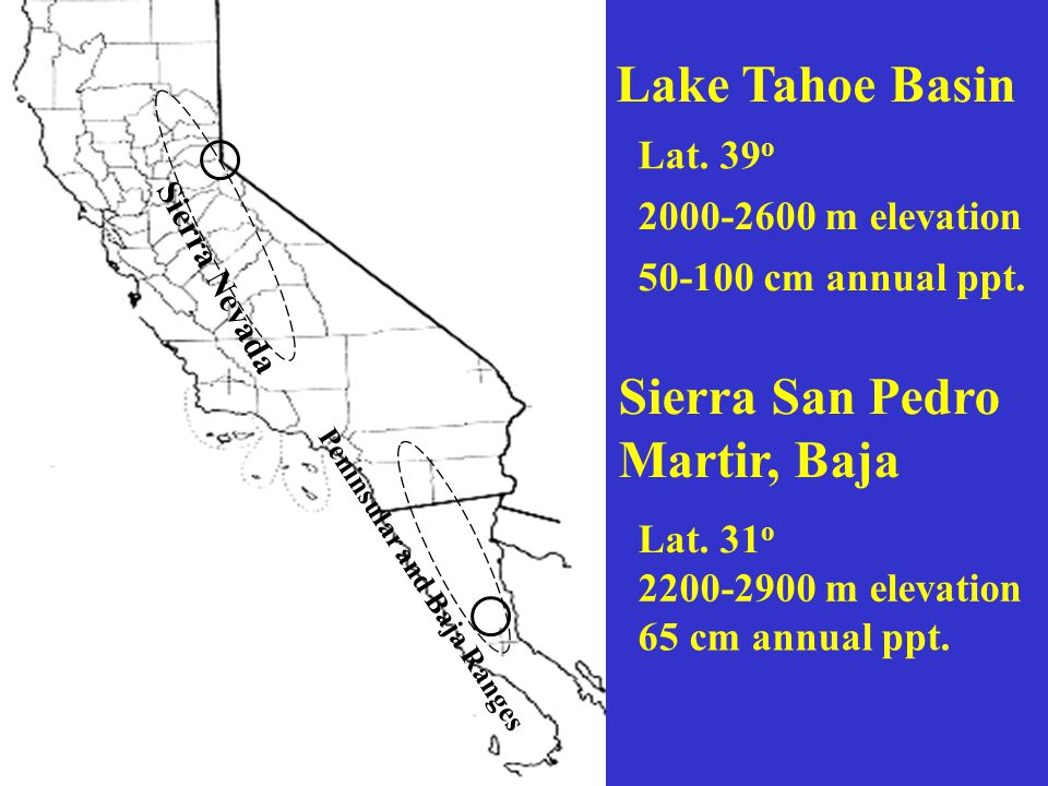 Lake Tahoe Basin Sierra Nevada Peninsular and Baja Ranges Sierra San Pedro Martir, Baja Lat.