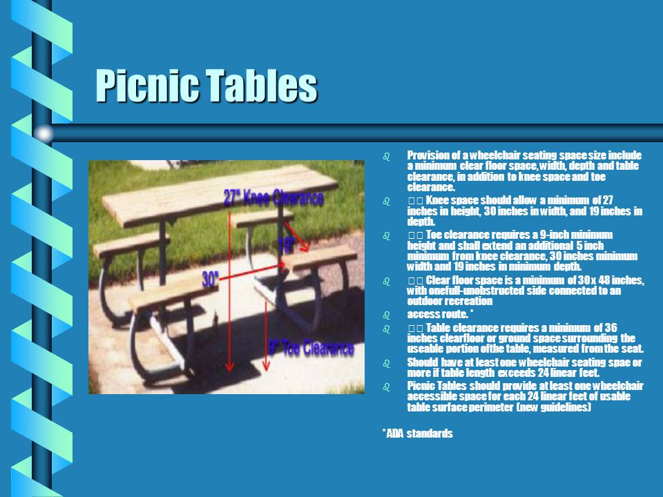 Picnic Tables b b Accessible picnic b b tables should be dispersed b b among the different types of b b picnic areas provided. For b b example, if the