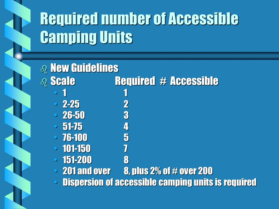 New Guidelines b Camping facility defined as a site, or portion of a site, developed for outdoor recreational purposes that contains camping units b C