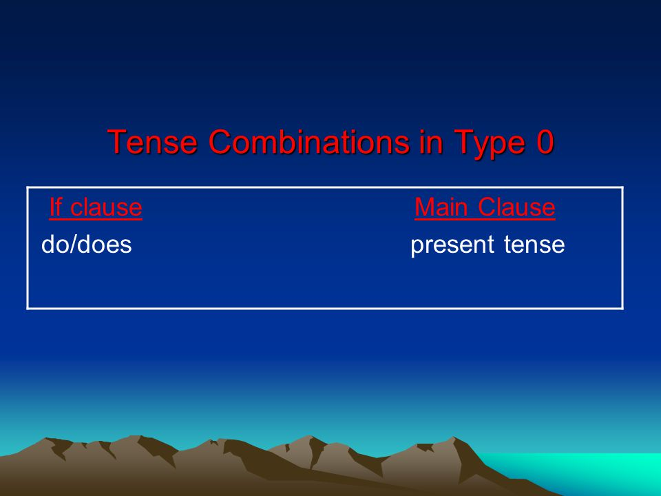 Tense Combinations in Type 0 If clause Main Clause do/does present tense