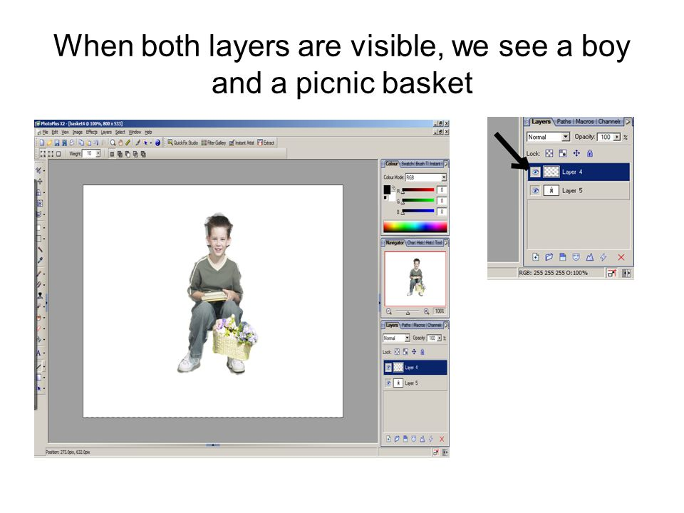 When both layers are visible, we see a boy and a picnic basket