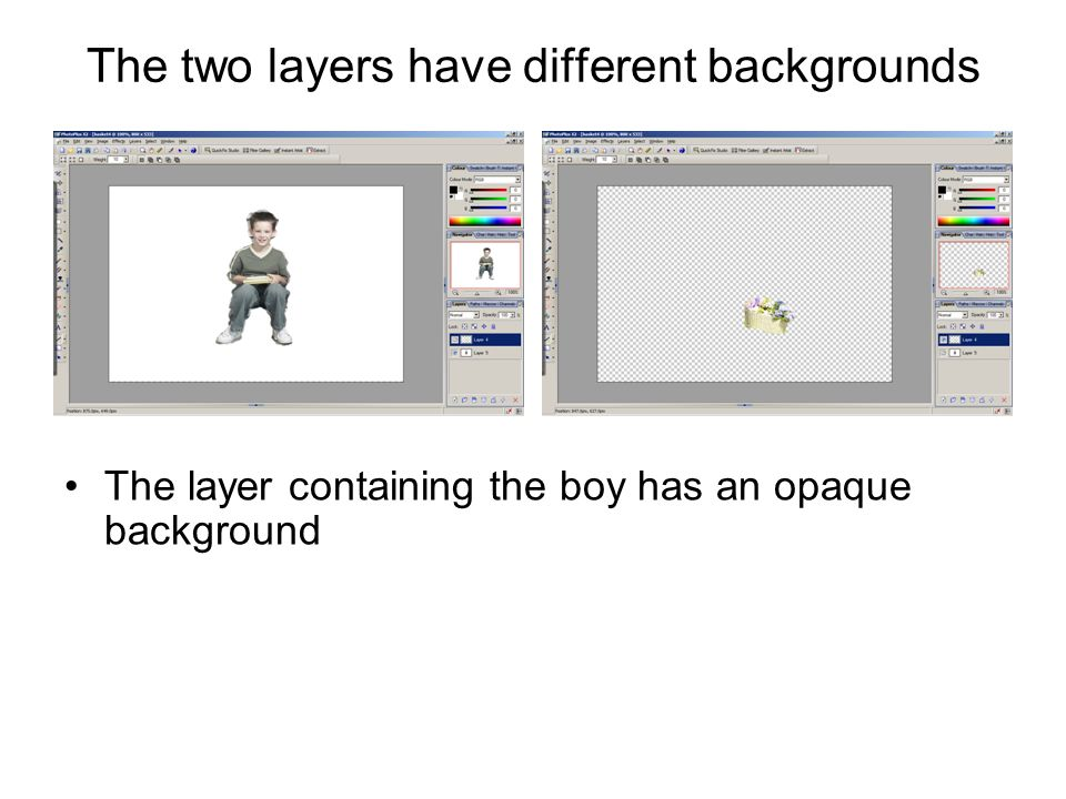 The two layers have different backgrounds The layer containing the boy has an opaque background –coloured white The layer containing the basket has a transparent background