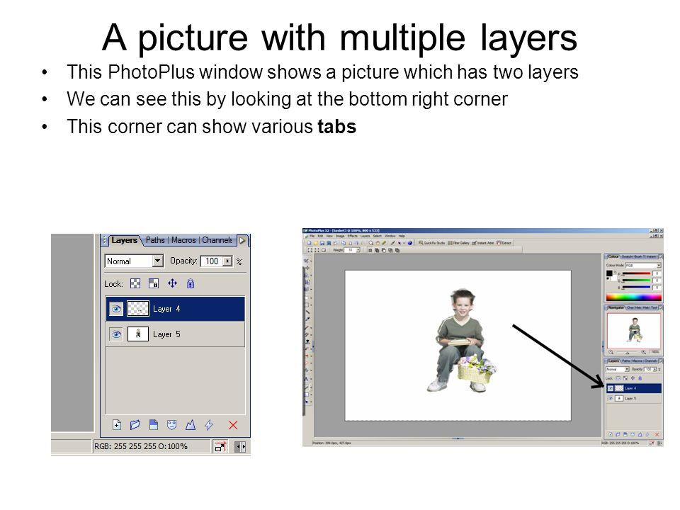 Backgrounds and layer ordering If the background of a layer is transparent, the content of the layer(s) below it will show through If the background of a layer is opaque, the content of the layer(s) below it will not show through