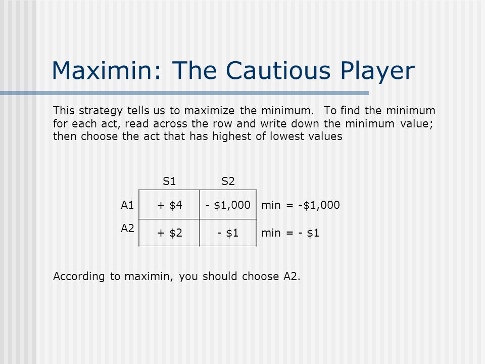 Maximin: The Cautious Player This strategy tells us to maximize the minimum.
