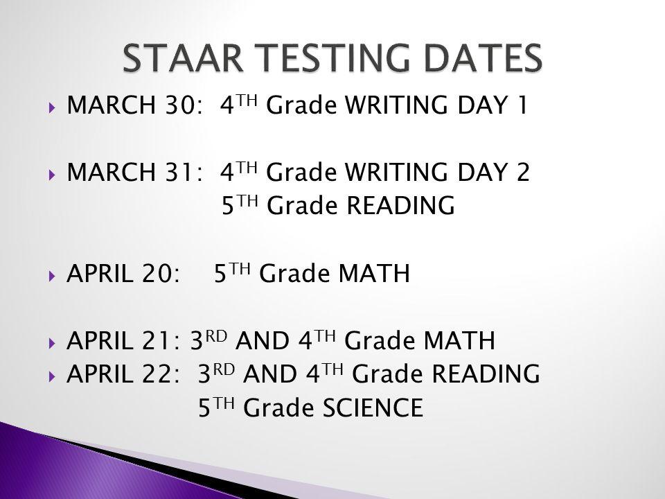  MARCH 30: 4 TH Grade WRITING DAY 1  MARCH 31: 4 TH Grade WRITING DAY 2 5 TH Grade READING  APRIL 20: 5 TH Grade MATH  APRIL 21: 3 RD AND 4 TH Grade MATH  APRIL 22: 3 RD AND 4 TH Grade READING 5 TH Grade SCIENCE