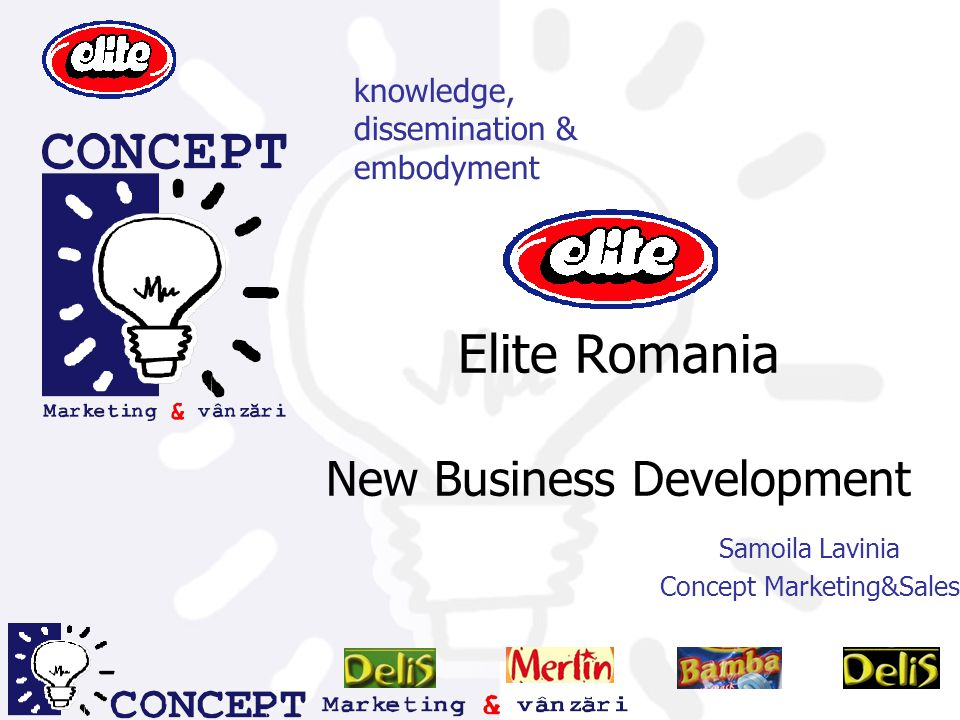Elite Romania New Business Development Samoila Lavinia Concept Marketing&Sales knowledge, dissemination & embodyment