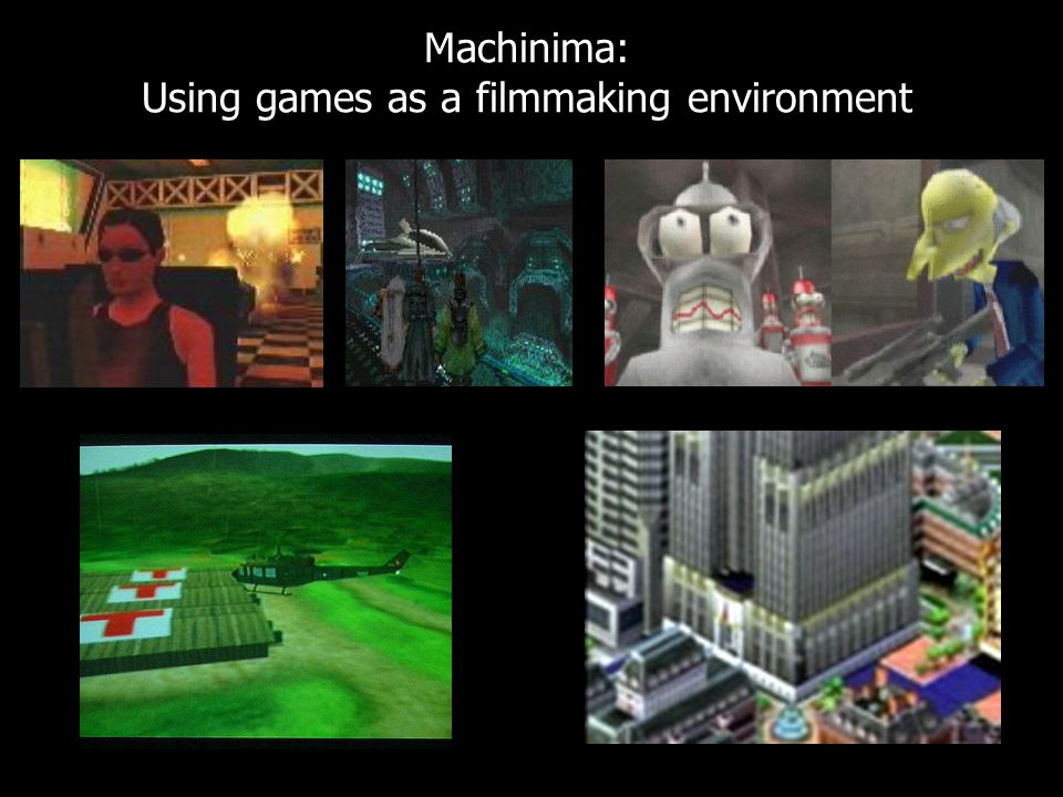 "Machinima: Using games as a filmmaking environment ""Vietnam Romance"" by Eddo Stern """"Shiek Attack"" by Eddo Stern"