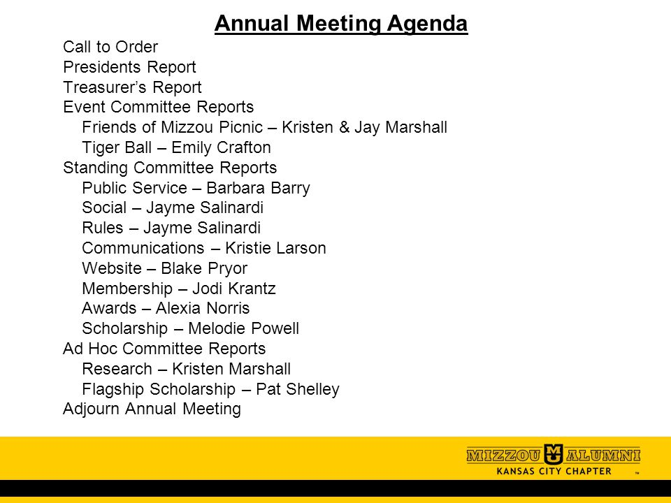 Annual Meeting Agenda Call To Order Presidents Report TreasurerS