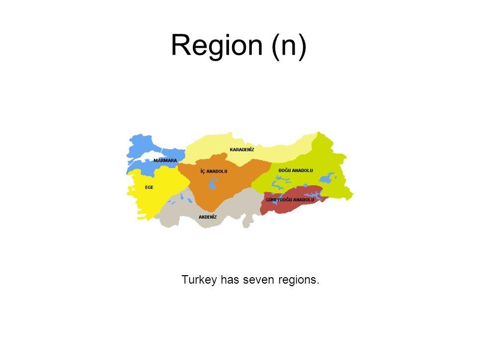 Region (n) Turkey has seven regions.