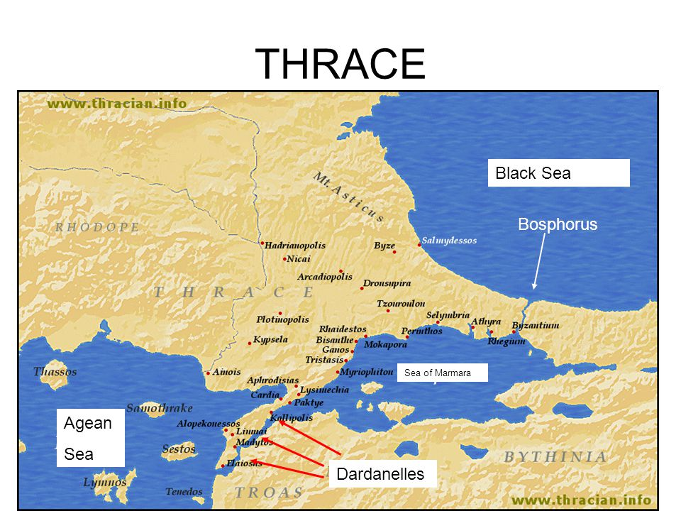 THRACE Black Sea Bosphorus Sea of Marmara Agean Sea Dardanelles