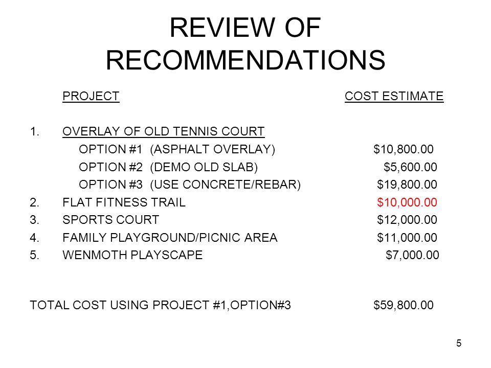 FINANCIALS FOR FUNDING PROJECTS #1 THRU #5 JUNE 30, 2010 RESERVES: $17OK – 3 MONTHS CONTINGENCY RESERVE: ($20K) –NET RESERVES: $15OK FUND PROJECTS #1 THRU #5 WITH POA RESERVES –OVERLAY TENNIS COURT (2011) $20K –FLAT FITNESS TRAIL (2010) $10K –SPORTS COURT (2011) $12K NET RESERVE BALANCE $108K AVERAGE NET INCOME @JUNE 30,2011 $45K ESTIMATED RESERVE @JULY 1,2011 $153K –FAMILY PLAYGROUND/PICNIC(2012) $11K –WENMOTH PLAYSCAPE(2012) $7K NET RESERVE BALANCE: $135K NET INCOME JUNE 30, 2012(LAKE DN ADJ.) $20K ESTIMATED RESERVE @ JULY 1, 2012 $155K 6