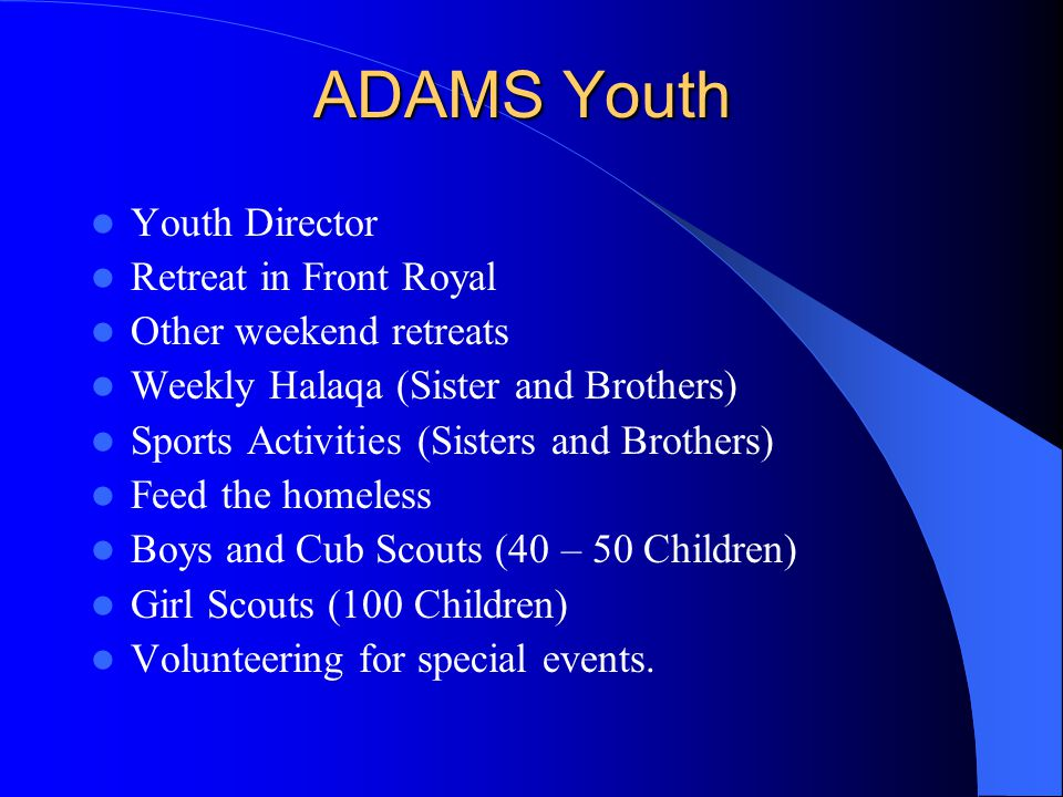 ADAMS Youth Youth Director Retreat in Front Royal Other weekend retreats Weekly Halaqa (Sister and Brothers) Sports Activities (Sisters and Brothers) Feed the homeless Boys and Cub Scouts (40 – 50 Children) Girl Scouts (100 Children) Volunteering for special events.