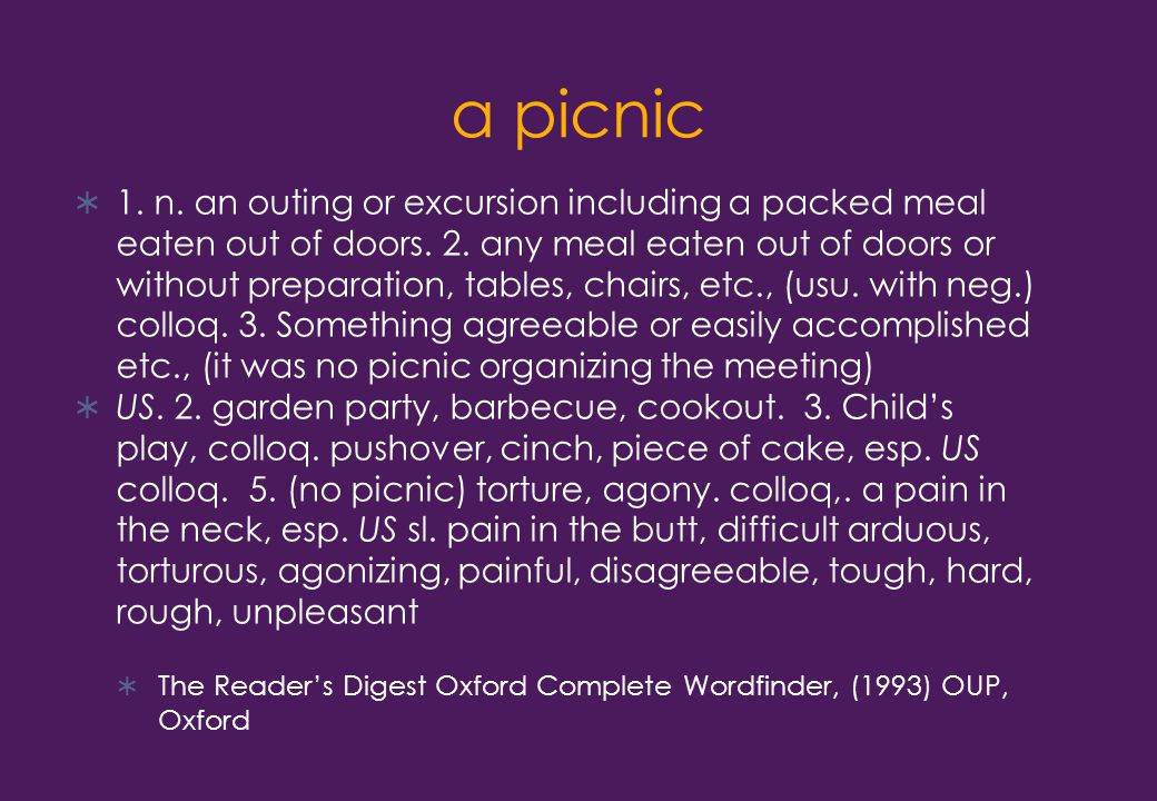 a picnic  1. n. an outing or excursion including a packed meal eaten out of doors.