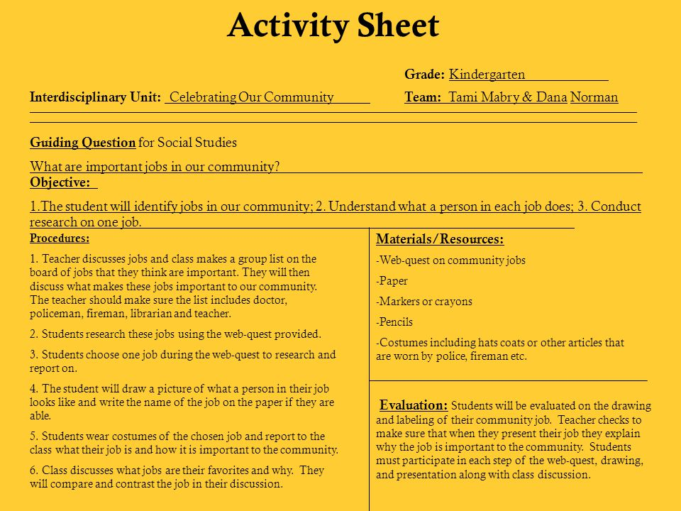 Activity Sheet Grade: Kindergarten Interdisciplinary Unit: Celebrating Our Community Team: Tami Mabry & Dana Norman ___________________________________________________________________________________________________________ ________________________________________________________________________________________________________________________________________________________________________________________________________________________________________________________________ Guiding Question for Art What does your community look like.