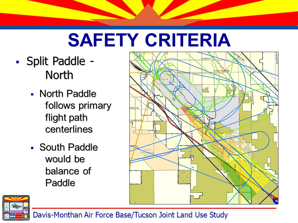 Davis-Monthan Air Force Base/Tucson Joint Land Use Study SAFETY CRITERIA  Split Paddle - North  North Paddle follows primary flight path centerlines  South Paddle would be balance of Paddle