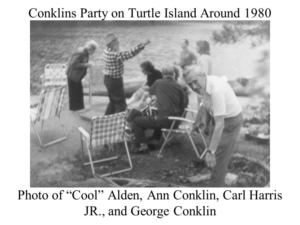 Conklins Party on Turtle Island Around 1980 Photo of Cool Alden, Ann Conklin, Carl Harris JR., and George Conklin