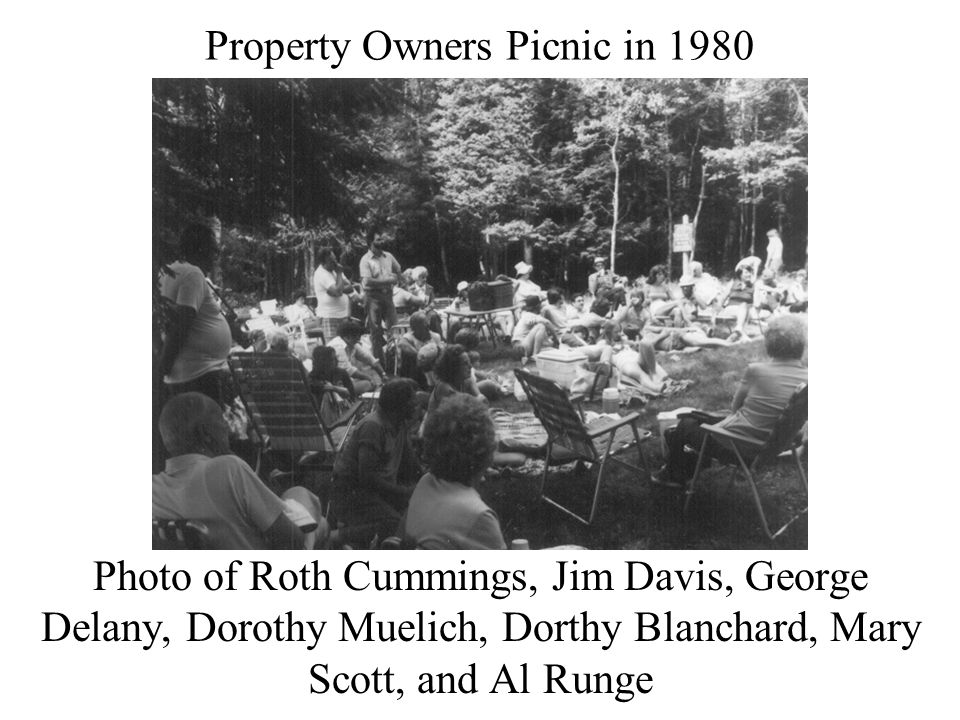 Property Owners Picnic in 1980 Photo of Roth Cummings, Jim Davis, George Delany, Dorothy Muelich, Dorthy Blanchard, Mary Scott, and Al Runge