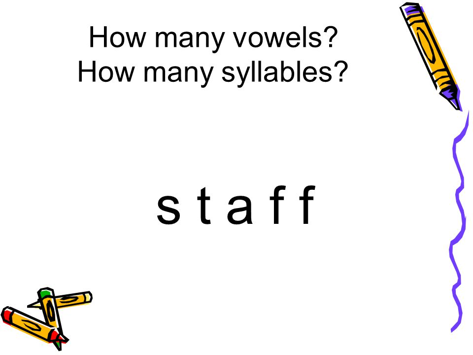 How many vowels How many syllables s t a f f