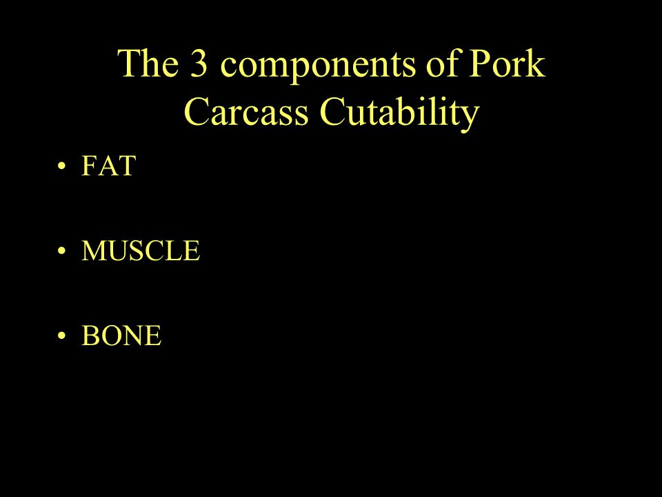 The 3 components of Pork Carcass Cutability FAT MUSCLE BONE