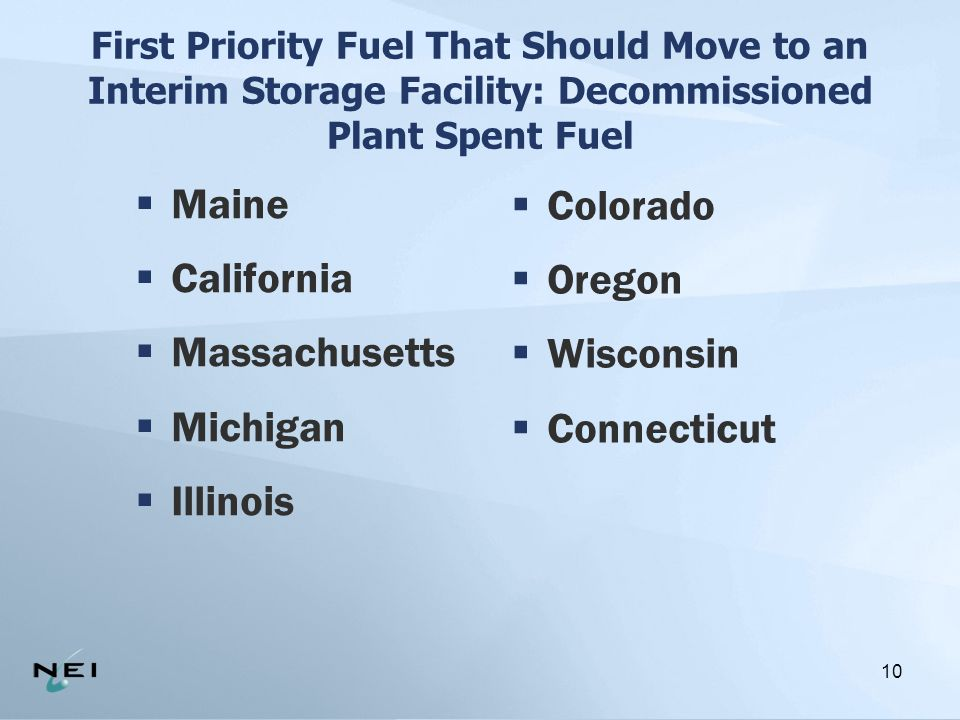 10 First Priority Fuel That Should Move to an Interim Storage Facility: Decommissioned Plant Spent Fuel  Maine  California  Massachusetts  Michigan  Illinois  Colorado  Oregon  Wisconsin  Connecticut